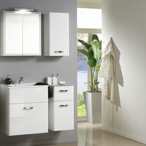 Held Möbel 60cm Wandmontierter Waschtisch Phoenix mit Spiegel und Schränke
