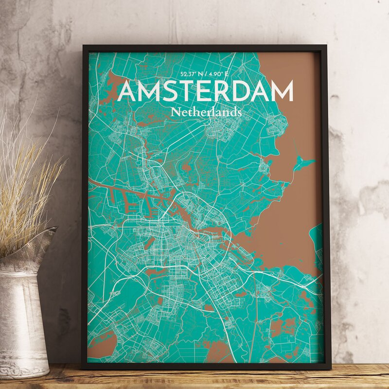 'Amsterdam City Map' Graphic Art Print Poster in Nature