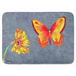Gerber Daisy and Buttefly Memory Foam Bath Rug
