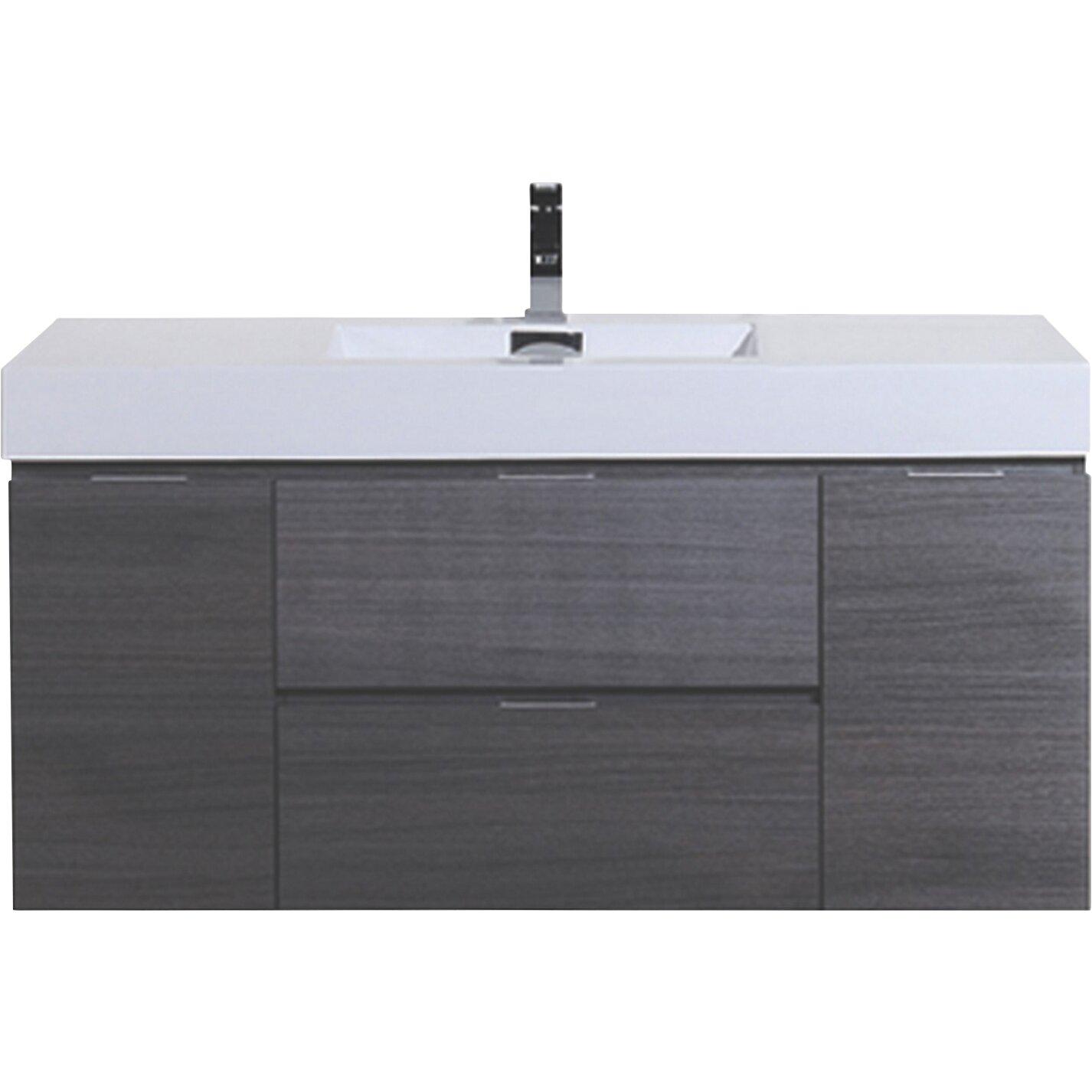Wade Logan Tenafly 48 Single Wall Mount Modern Bathroom Vanity Set Reviews