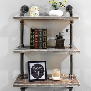Song Industrial Pipe Wood Accent Wall Shelf