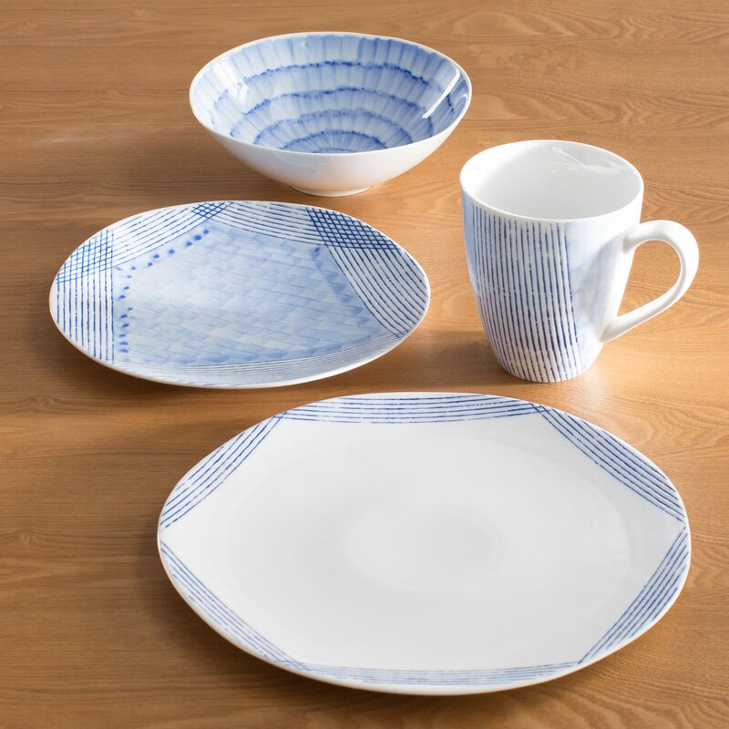 Over and Back Waterfall 16 Piece Dinnerware Set, Service for 4 ...