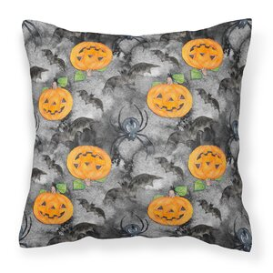 Watecolor Halloween Jack-O-Lantern Bats Outdoor Throw Pillow