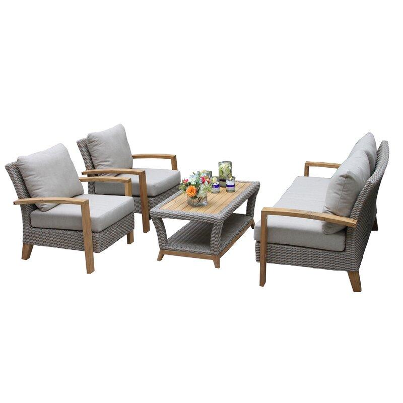 Dillard 4 Piece Sofa Seating Group With Cushions