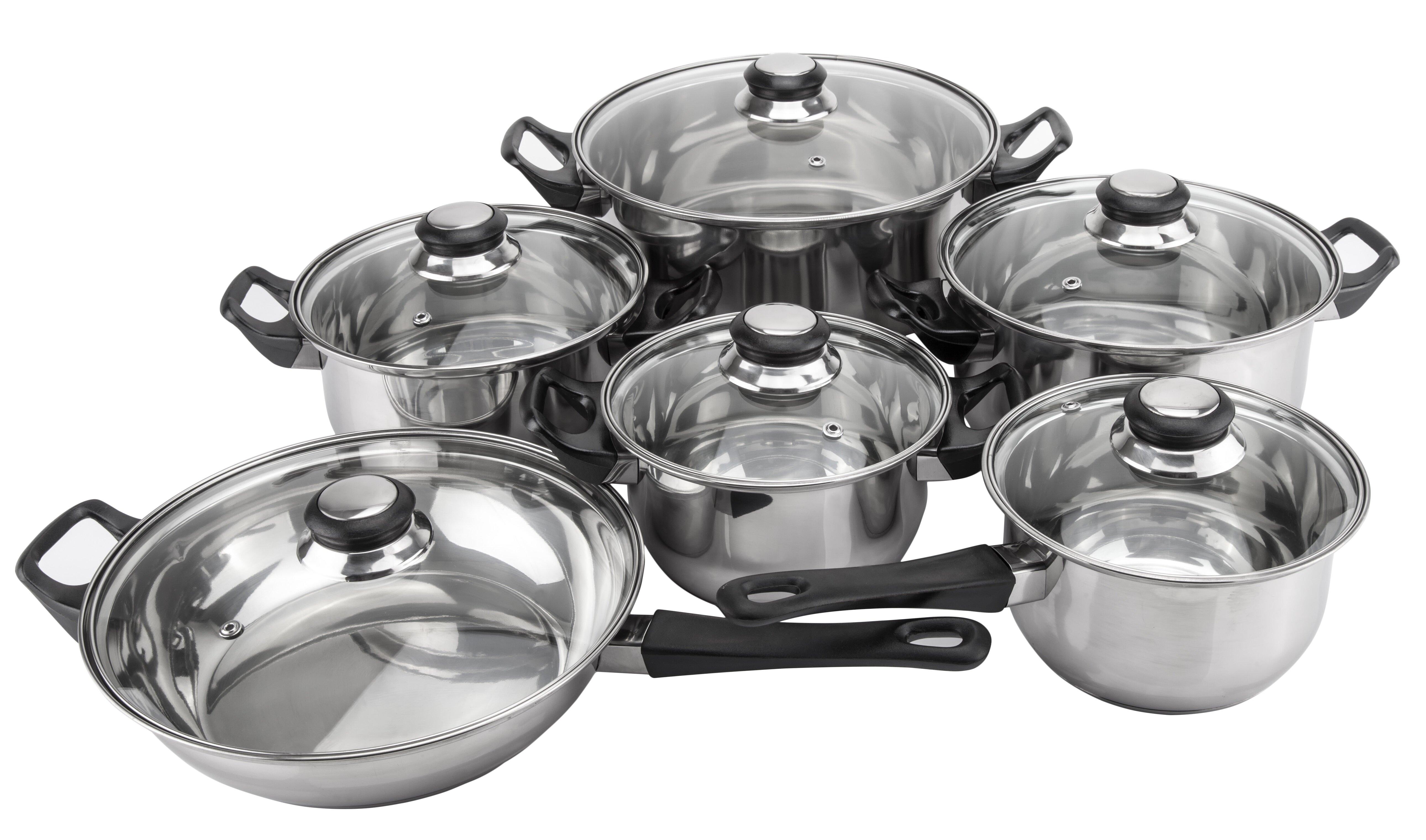 Monterrey 12 Piece Non Stick Priminute Stainless Steel Cookware Set