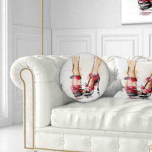 Abstract High Heel Fashion Shoes Throw Pillow