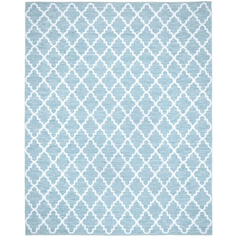 Alcott Hill Valley Hand-Woven Cotton Blue/ Ivory Area Rug, Size: Rectangle 8 x 10