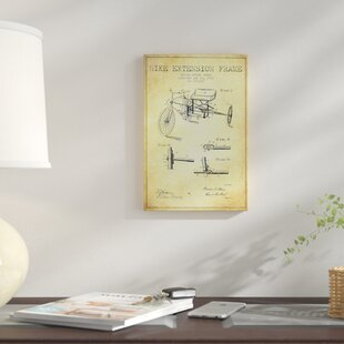 4c54f948c4d  G.W. Akers Bike Extension Frame Patent Sketch  Graphic Art Print on Canvas  in Beige