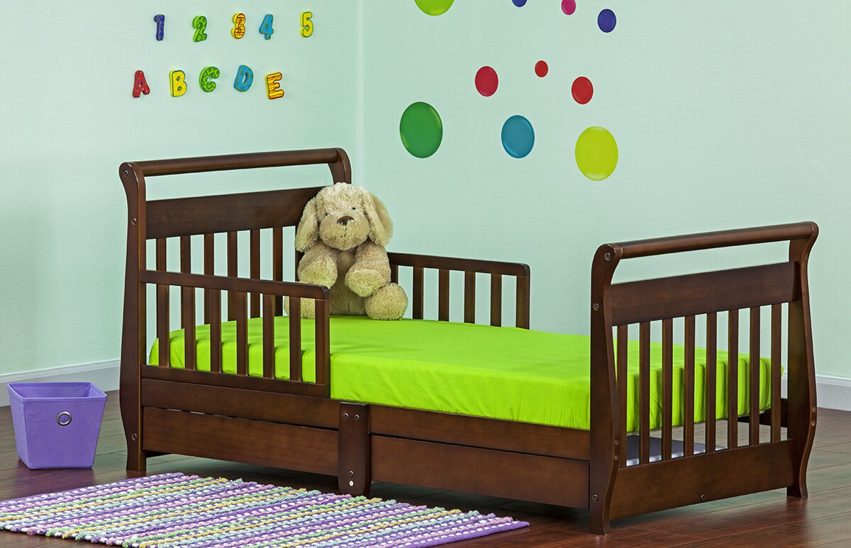 dream on me toddler sleigh bed with storage reviews wayfair. Black Bedroom Furniture Sets. Home Design Ideas