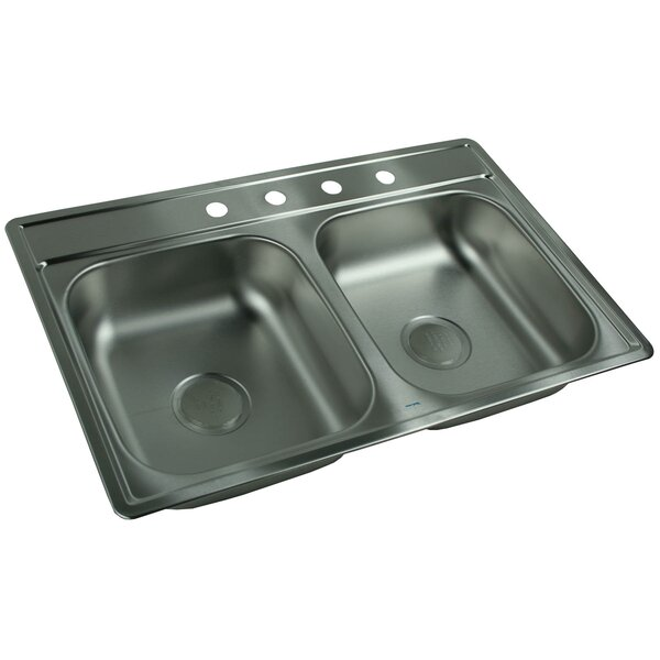 "franke kindred 33"" x 22"" 4 hole double bowl kitchen sink & reviews"