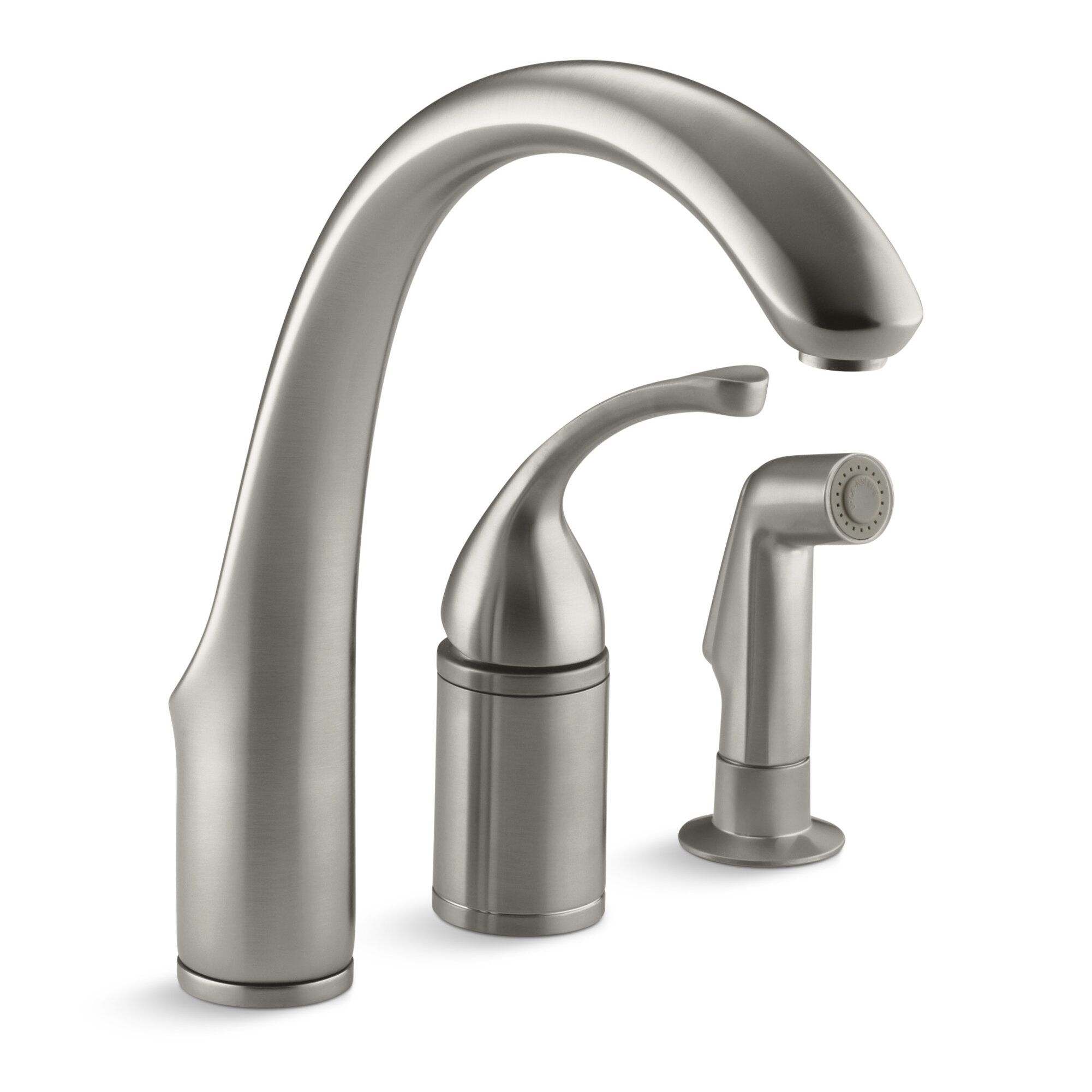 K 10430 bnbvcp kohler forté 3 hole remote valve kitchen sink faucet with 9 spout with matching finish sidespray reviews wayfair