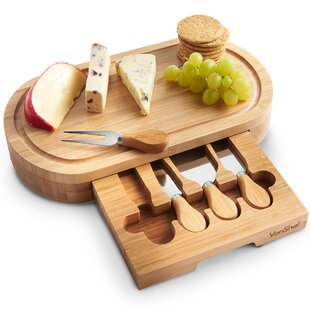 Oval Wooden 5 Piece Cheese Board Set by VonShef