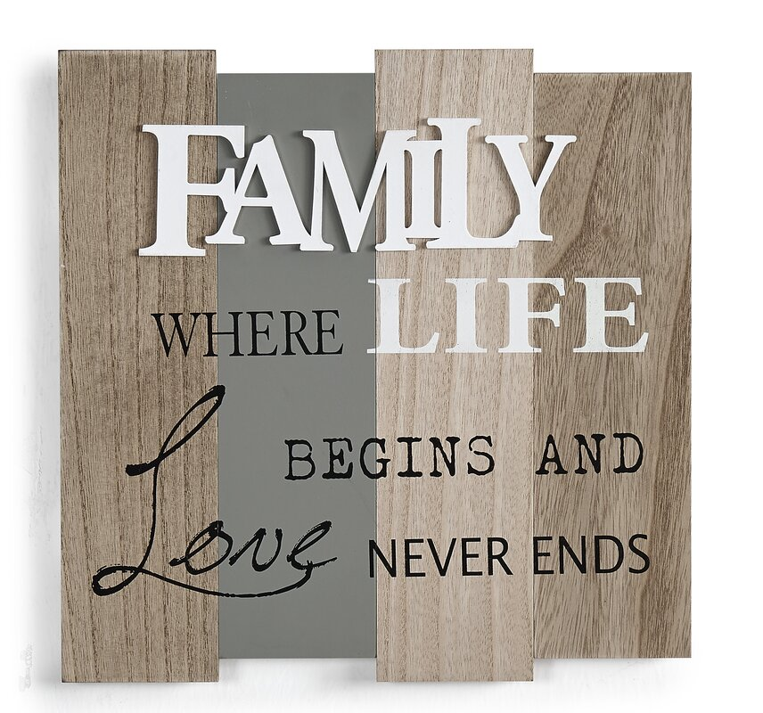 family where life begins and love never ends textual art on wood - Wooden Signs With Sayings