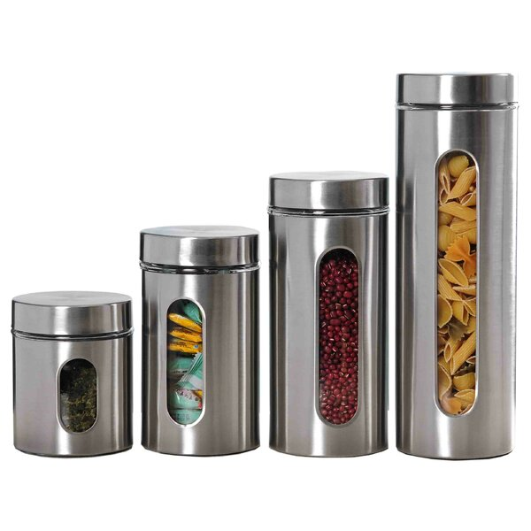 Wayfair Basics™ Wayfair Basics 4 Piece Stainless Steel Kitchen Canister Set  U0026 Reviews | Wayfair