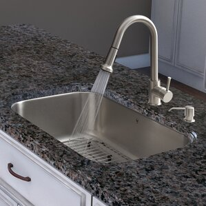 VIGO Harrison Single Handle Pull-Down Spray Kitchen Faucet with Soap Dispenser