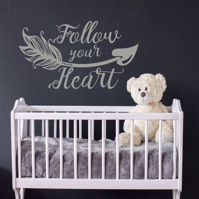 Follow Your Heart Wall Vinyl Boho Arrow Nursery Quotes Decal