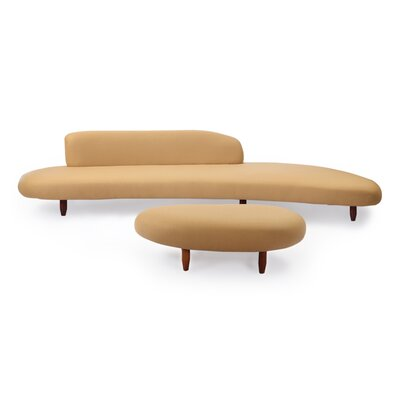 Brayden Studio Potvin Mid Century Modern Sofa and Ottoman Set Upholstery Color: Latte