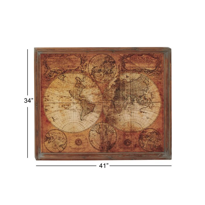 Three Posts World Map Framed Graphic Art & Reviews | Wayfair.ca