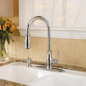 Pfister Hanover Single Handle Deck Mounted Kitchen Faucet with Soap Dispenser