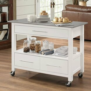Futral Stainless Steel Wheeled Kitchen Island Wonderful