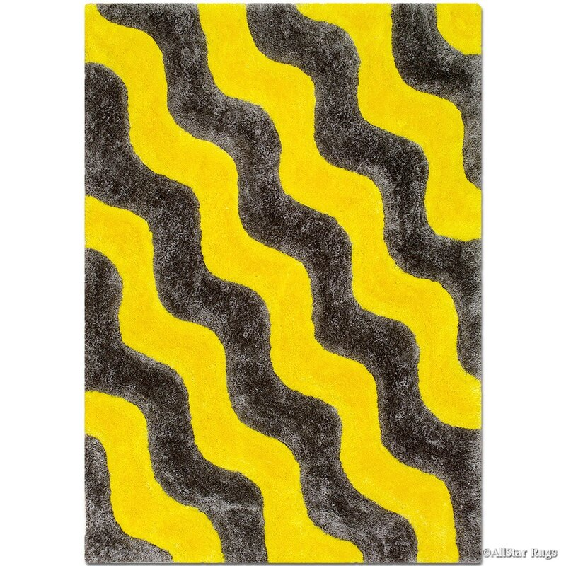 Hand Tufted Yellow Black Area Rug