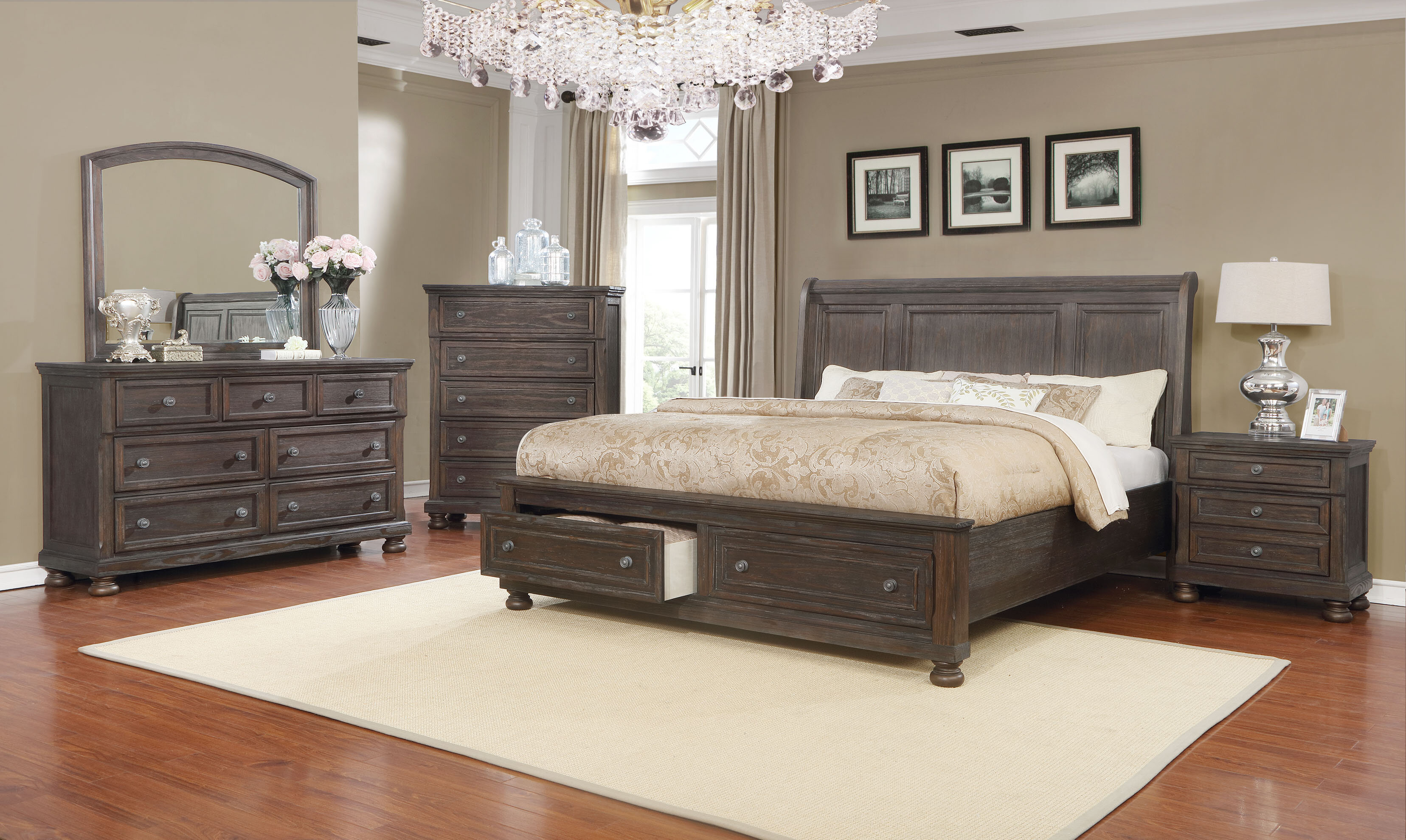 Mapes Queen Sleigh 4 Piece Bedroom Set