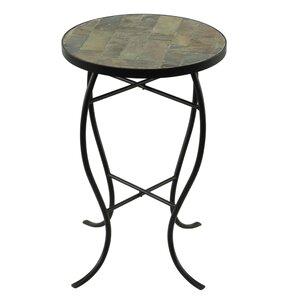 Round StoneTop Metal End Table. Gray Slate