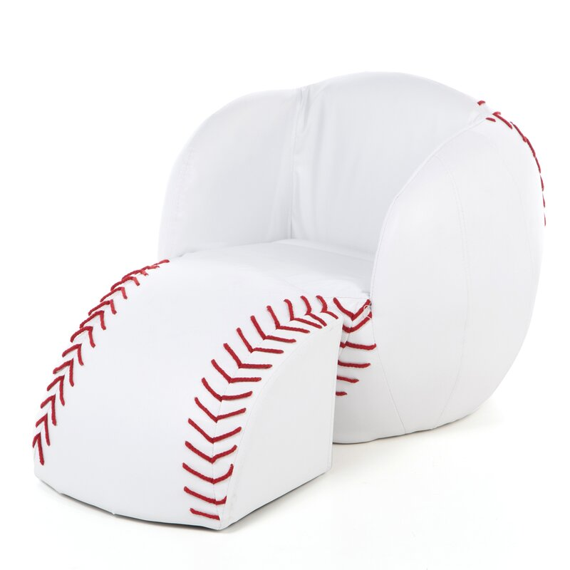 Baseball Kids Novelty Chair And Ottoman