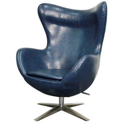 Brayden Studio Ledet Swivel Wingback Chair Upholstery: Distressed Blue