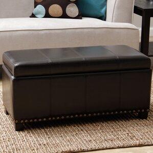 edmond faux leather storage bench - Leather Storage Bench