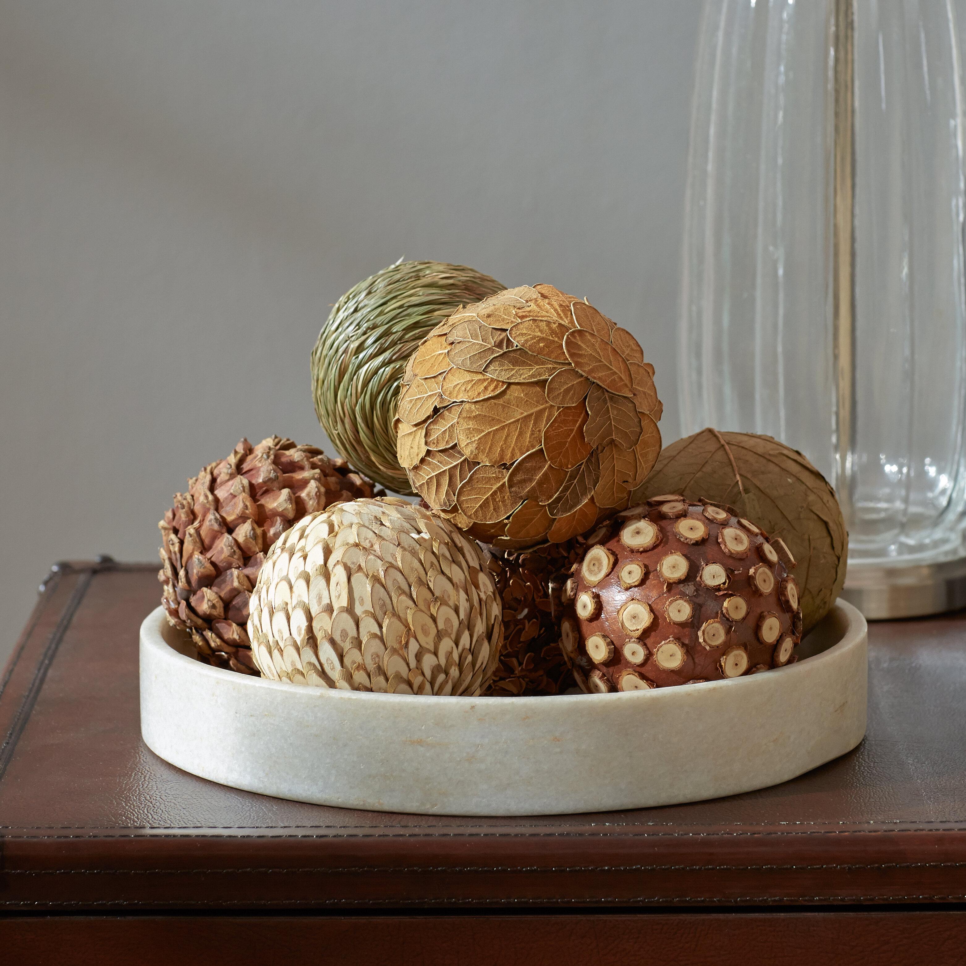 Three Posts Autumnal 8 Piece Natural Ball Sculpture Set