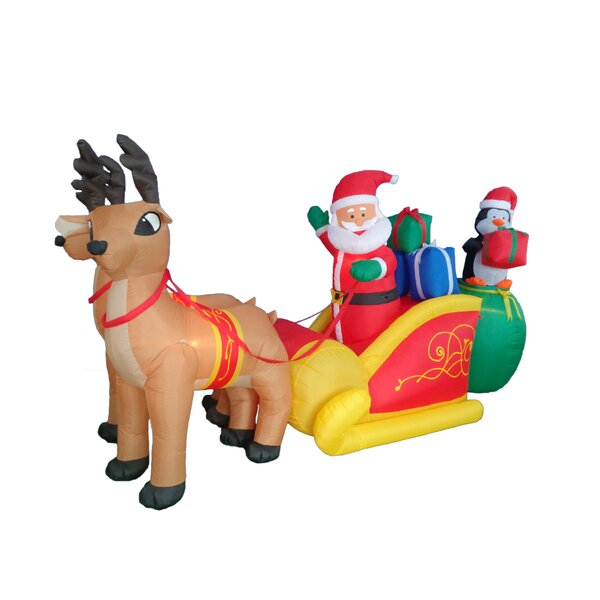 Bzb goods christmas inflatable santa claus with reindeer