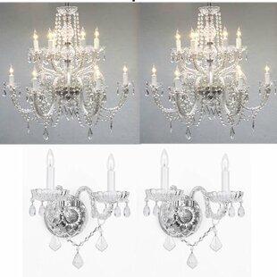 Chandelier wall sconce wayfair litten 4 piece crystal chandelier and wall sconce set aloadofball Gallery