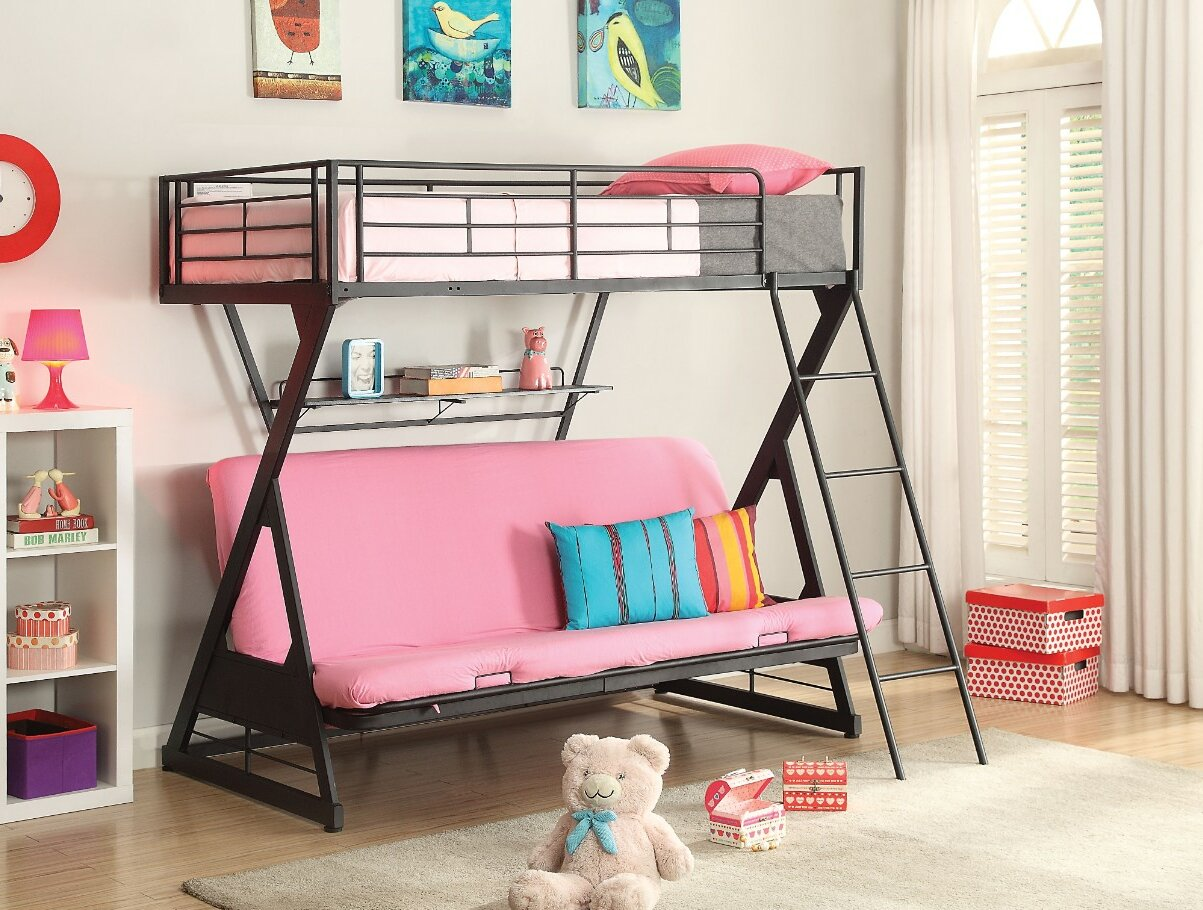 Harriet Bee Bourgault Metal Twin Over Full Futon Bunk Bed With