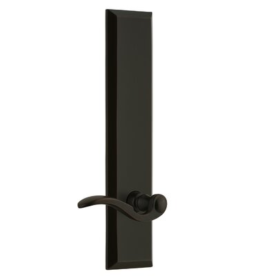 """Fifth Avenue Tall Plate Privacy Door Lever Grandeur Finish: Timeless Bronze, Backset: 2-3/4"""", Lever Orientation: Right"""