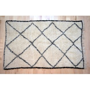 Affordable One-Of-A-Kind Moroccan Beni Ouarain Hand-Woven 3'9 x 6'5 Wool Off White Area Rug By Isabelline