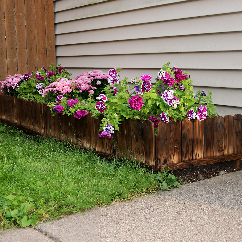 Rustic Wood Garden Fence Panel Landscape Edging