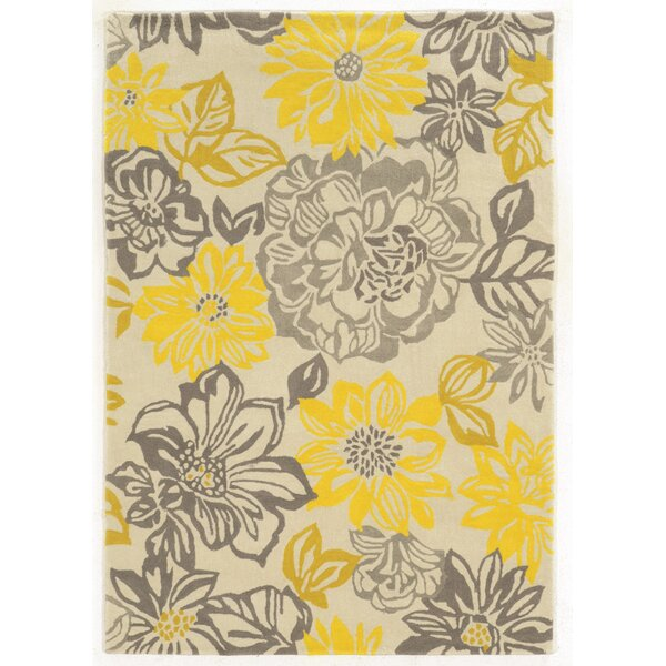 august grove amezcua hand-woven gray/yellow area rug & reviews