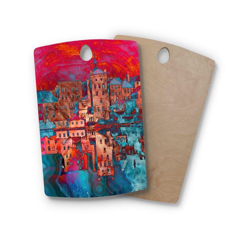 "East Urban Home Suzanne Carter Birchwood Marbled Skyline Cutting Board  Shape: Rectangle: 16"" x 10.5"""