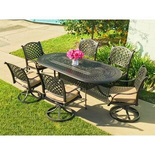 Beadle Oval Cast Aluminum 7 Piece Dining Set With Cushions