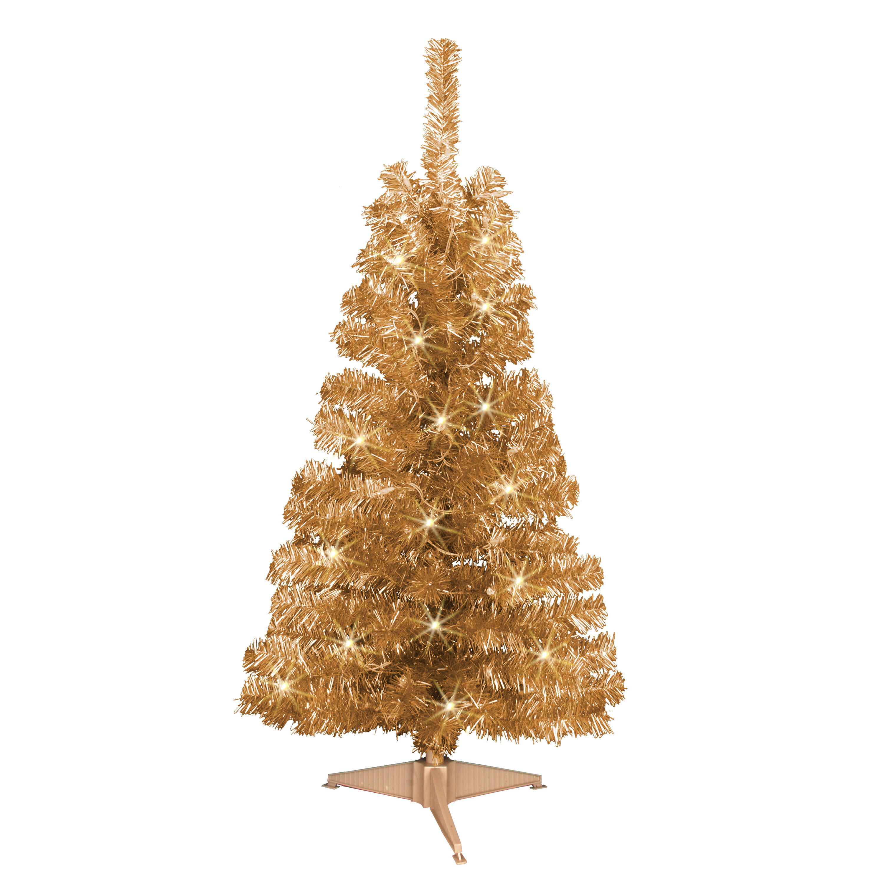 Jeco Inc. 4\' Champagne Artificial Christmas Tree with 70 Clear ...