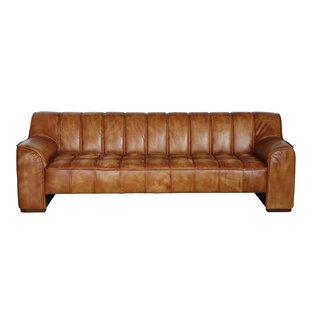 Jed Distressed Tufted Leather Sofa
