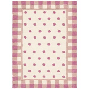 Novelty Hand-Woven Wool Ivory/Pink Area Rug