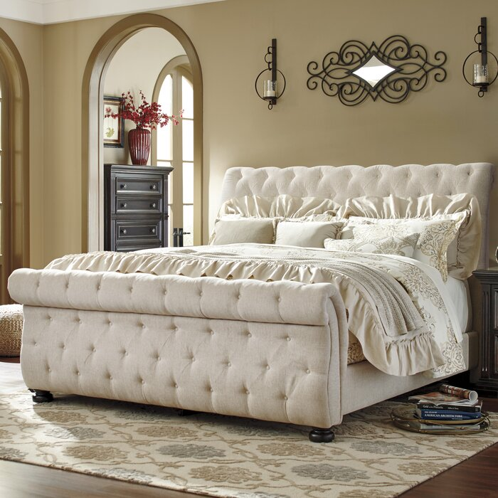 beds sleigh large natural luxury of bed upholstered tufted size canada