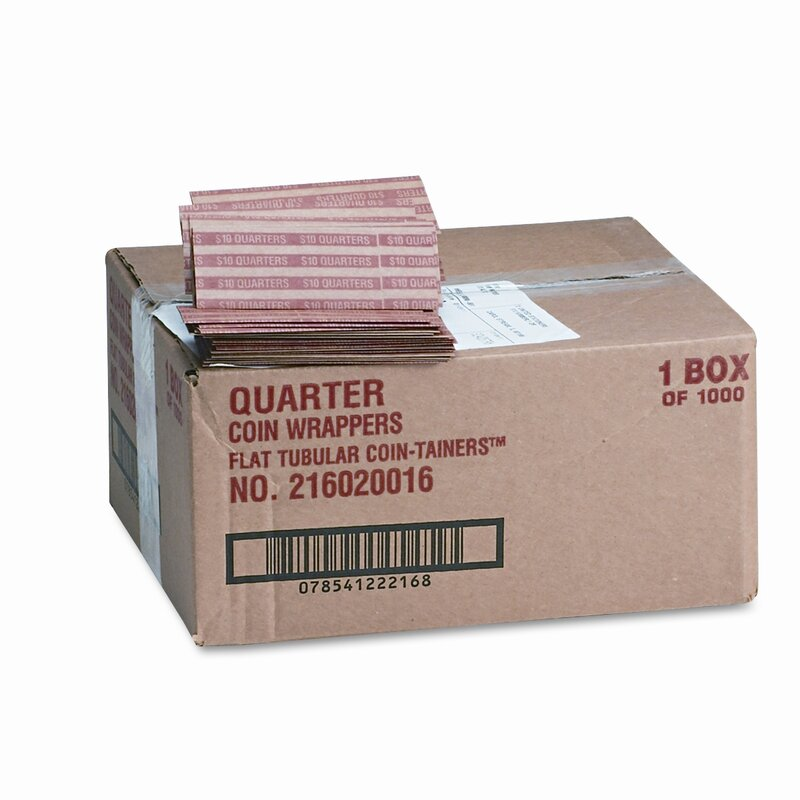 Pop-Open Flat Paper Coin Wrappers, 1000 Wrappers/Box