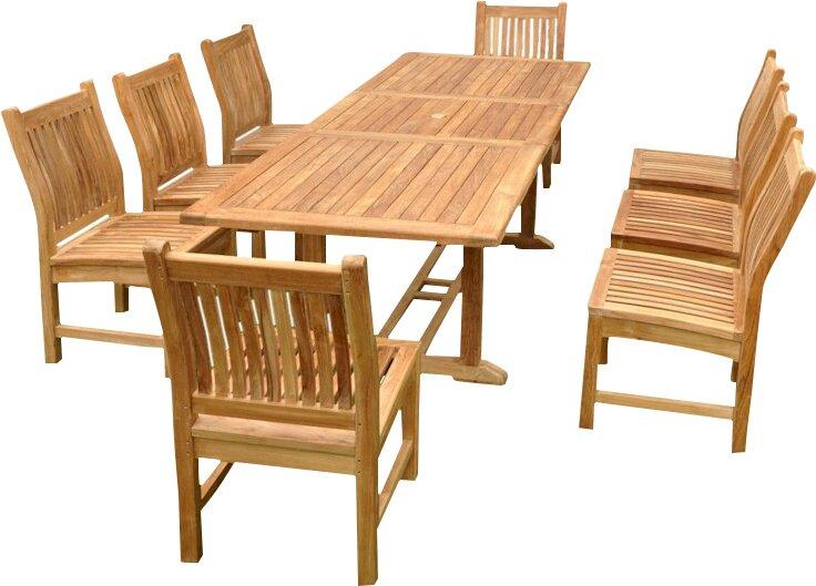 Farnam 9 Piece Teak Wood Dining Set