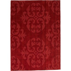 Alicia Ultra-Soft High-Quality Wool Bold Designed Burgundy Area Rug