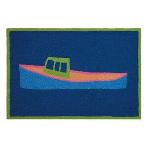 Dunbar Lobster Boat Hand Hooked Wool Blue Area Rug