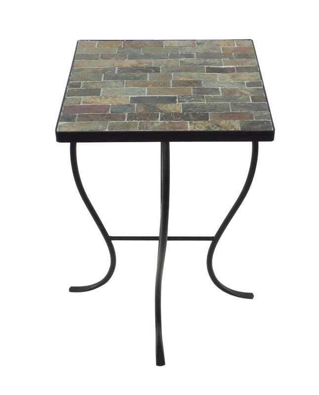 Square Stone Top Metal End Table