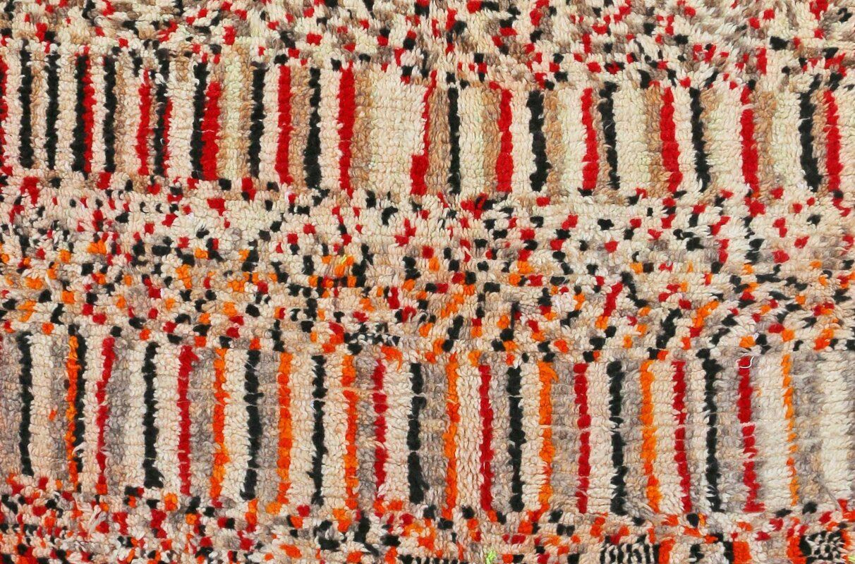 Azilal Vintage Moroccan Hand Knotted Wool Cream/Red/Black Area Rug